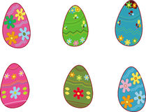 Easter eggs. Six different Easter eggs. Illustration Vector Illustration