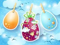 Easter eggs on sky background Stock Image
