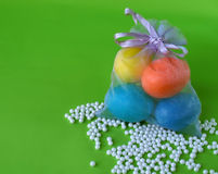 Easter eggs in small bag with beads Royalty Free Stock Photos