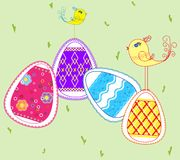 Easter eggs and small birds. On the grass Stock Illustration