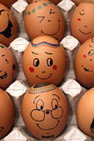 Easter eggs with a smile. Easter eggs in a tray with a smile Royalty Free Stock Photography