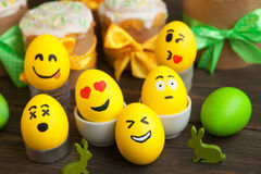 Easter eggs with smiley faces Royalty Free Stock Photography
