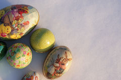 Easter-eggs in snow Royalty Free Stock Photo