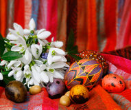Easter eggs and snowdrops. Beautiful easter composition with snowdrops Royalty Free Stock Image