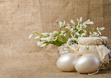 Easter eggs and snowdrops Royalty Free Stock Images