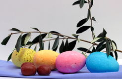 Easter eggs. Some colored easter eggs on the table royalty free stock photo