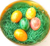 Easter Eggs. Some colorful Easter Eggs in a basket stock image