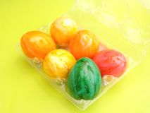 Easter Eggs. Some colorful Easter Eggs in a box stock image
