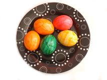 Easter Eggs. Some colorful easter eggs on a plate royalty free stock image