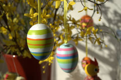Easter eggs. Some Easter eggs on a decorative bouquet royalty free stock photo