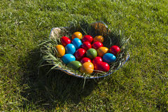 Easter eggs. Some painted Easter eggs in a basket on grass royalty free stock images