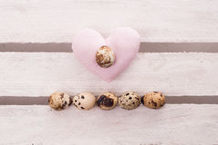 Easter eggs. Some small eggs on the wooden background Stock Photo