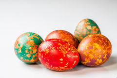 Easter eggs, special technique with onion peel. Easter eggs, special technique with onion peel, shot on a white background Stock Images