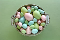 Easter eggs in speckled dish Royalty Free Stock Images