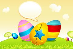 Easter Eggs with Speech Bubble Stock Photography
