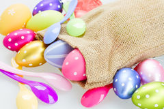 Easter eggs and spoons Royalty Free Stock Images
