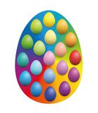 Easter Eggs On Rainbow Colored Background Egg. Easter eggs spread over a big rainbow colored easter egg background to increase their color intensity vector illustration