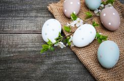 Easter eggs and spring  blossom. On a old wooden background Stock Images
