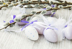 Easter eggs with spring buds branches decoration Royalty Free Stock Photo