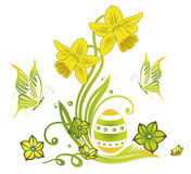 Easter eggs, spring. Colorful Easter eggs, green spring time collection Stock Image