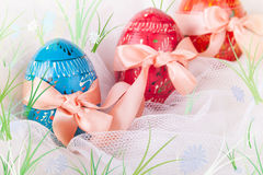 Easter Eggs on the Spring Field Royalty Free Stock Photo