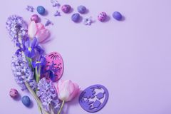 Easter eggs with spring flowers Stock Image