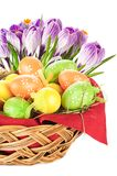 Easter eggs spring flowers Royalty Free Stock Photos