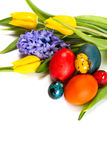 Easter eggs with spring flowers Stock Photography