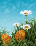 Easter eggs in spring flowers Royalty Free Stock Photos