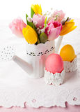 Easter eggs and  spring flowers Royalty Free Stock Photo
