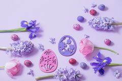 Easter eggs with spring flowers Stock Photo