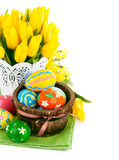 Easter eggs with spring flowers Royalty Free Stock Images
