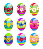 Easter eggs with spring flowers pattern Stock Photo
