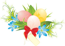 Easter eggs, spring flowers and red bow with card Royalty Free Stock Photography