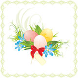 Easter eggs, spring flowers and red bow with card Stock Photography