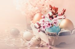 Easter eggs and spring flowers on rustic wooden background.Easter holiday card copy space. royalty free stock image