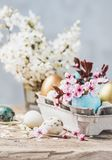 Easter eggs and spring flowers on rustic wooden background.Easter holiday card copy space. stock image