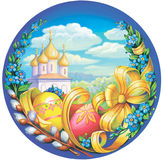 Easter eggs. And spring flowers on a sky background church Stock Photo