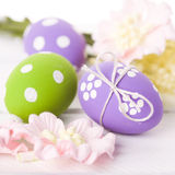 Easter Eggs with Spring Flowers Stock Images