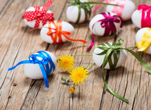 Easter eggs with spring flowers Royalty Free Stock Photo