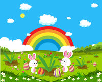 Easter eggs spring fresh grass and bunny background Royalty Free Stock Photography