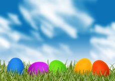 Easter eggs in spring grass Royalty Free Stock Photos