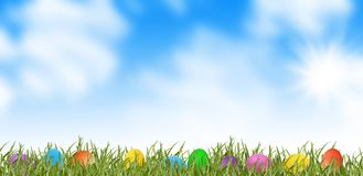 Easter eggs on spring meadow Stock Images