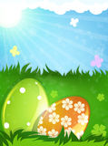 Easter eggs in the spring meadow Royalty Free Stock Photography