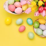 Easter eggs spring tulips Flower decoration royalty free stock photo