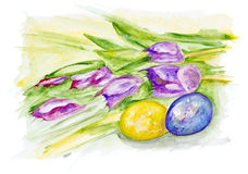 Easter eggs and spring tulips Stock Photos