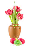 Easter Eggs and spring tulips Royalty Free Stock Images