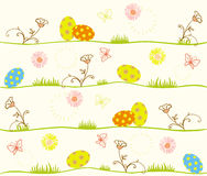 Easter eggs and springtime. Illustrated colored Easter eggs, butterflies and flowered background Stock Photos