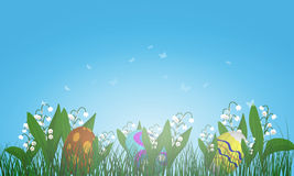 Easter Eggs on Springtime Meadow Royalty Free Stock Photos