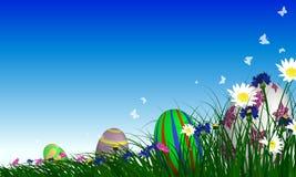 Easter Eggs on Springtime Meadow Stock Photos